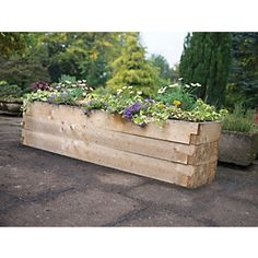 Find Forest Garden Wooden Caledonian Garden Trough Planter at Homebase. Visit your local store for the widest range of garden & outdoor products. Plant Troughs, Garden Troughs, Trough Planters, Garden Fencing, Garden Planters, Garden Landscaping, Small Gardens, Outdoor Gardens, Railway Sleepers Garden