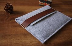 Unique iPad case sleeve,  Custom Leather iPad air case covers, 100% wool felt made double bag pattern tablet case on Etsy, $19.90