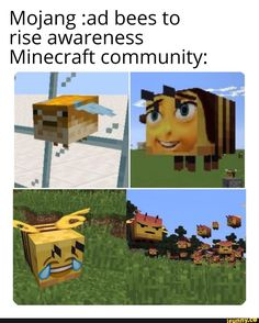 Mojang :ad bees to rise awareness Minecraft community: - iFunny :) Stupid Funny Memes, Funny Animal Memes, Haha Funny, Funny Stuff, Minecraft Memes, Minecraft Crafts, Lego Minecraft, Minecraft Skins, Minecraft Buildings