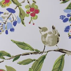 Penglai Wallpaper A delightful wallpaper featuring an informal design of birds nestling amongst blossoming branches Printed in a ink wash style in blue, pink and sage on a powder blue background.