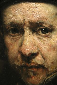 Detail of a self portrait at the exhibition 'Late Rembrandt' in the Rijksmuseum Amsterdam. Rembrandt Self Portrait, Rembrandt Art, Rembrandt Paintings, Figure Painting, Painting & Drawing, Arte Do Pulp Fiction, Chiaroscuro, Renaissance Art, Portrait Art