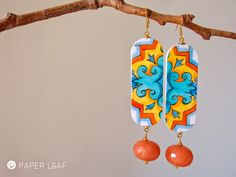 Porcelain | Barocco_01 | handpainted paper earrings with giade beads | Paper Leaf