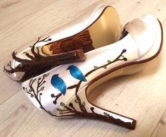 Wedding Shoes Ivory  trees leaves carved initials by norakaren, $255.00