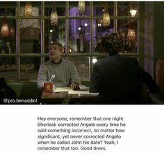 """""""Hola a todos, recuerdan esa noche en que Sherlock corrigió a Angelo cada vez que decía algo incorrecto, no importa cuán significativo, sin embargo, nunca corrigió a Angelo cuando llamó a John su cita? Si, también lo recuerdo. Buenos tiempos."""""""