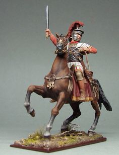 Roman soldier on horseback. Military Figures, Military Art, Ancient Rome, Ancient History, Rome Antique, Roman Legion, Roman Sculpture, Hobbies For Men, Roman Soldiers