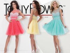 Coral, Yellow, and Blue Short Prom Dresses