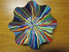 Painted Vinyl Record Bowl Recycled Art Vinyl Records