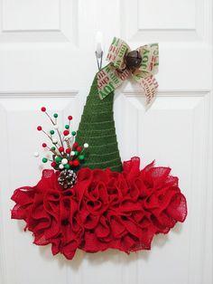 Brand New, Handmade (by myself) Beautiful rustic inspired burlap elf hat Wreath Burlap Flower Wreaths, Wreath Burlap, Dollar Tree Crafts, Christmas Crafts, Outdoor Christmas Decorations, Holiday Decor, Elf Hat, Holiday Wreaths, Door Hangers