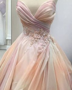 This pretty pink Lazaro wedding dress <3