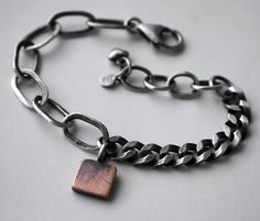 Chunky Cooper Tag Sterling SToNZ Bracelet