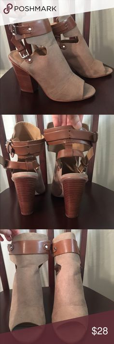 """Just Fab Open Toe Booties Super cute, never worn, Just Fab faux suede booties with a double ankle buckle. Heel is 4"""". JustFab Shoes Ankle Boots & Booties"""
