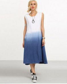 Gradient dip dye tank dress for women long tank tops loose style