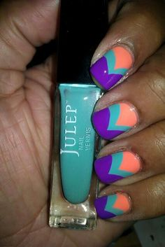 Turquoise, coral and purple nails