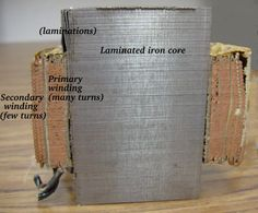 Transformer cross-section cut shows core and windings