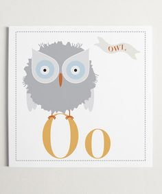 Oo is for Owl Wall Art - by ModernPOP