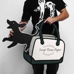"""I'm loving these new cartoon bags from """"Jump from Paper!"""" Design duo Chay Su and Rika Lin, create exceptional art that you can take with you to the office or out on the town. 2d Bags, Jump From Paper, Belly Top, Cartoon Bag, Nerd, Bored Panda, Play Hard, Leather Design, Cartoons"""