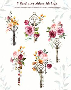 Watercolor Flower Clipart Design set by Lisima on Creative Market Informations About Watercolor Flower Clipart Design set by Lisima on Vintage Key Tattoos, Antique Key Tattoos, Design Set, Skull Tattoos, Sleeve Tattoos, Bow Tattoos, Heart Tattoos, Tatto Floral, Creative Market