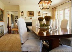 Peter Dunham dining room. Lantern over dining. And lantern sconces.