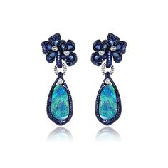 Sutra Opal & Sapphire Earrings ~ Set in 18k white gold with 20.29ct doublet opals accentuated with 11.81ct sapphires and 1.75ct diamonds