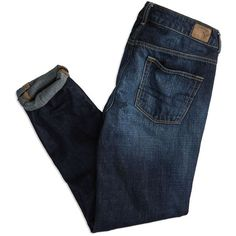 AEO Factory Boy Jeans ($30) ❤ liked on Polyvore featuring jeans, pants, bottoms, dark wash jeans, american eagle outfitters jeans, tapered leg jeans, blue jeans and american eagle outfitters