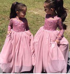Modern Long Sleeve Appliques Pink Flower Girl Dress Floor-length