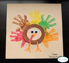 Turkey handprint picture.  Put a picture of the kids in the middle instead.