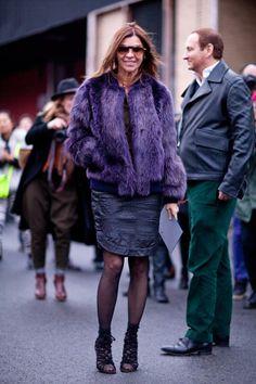 What's not to love about Carine Roitfeld in purple fur?    #streetstyle #newyorkfashionweek #fashion #fashionweek #style #harpersbazaar #mrnewton #carineroitfeld
