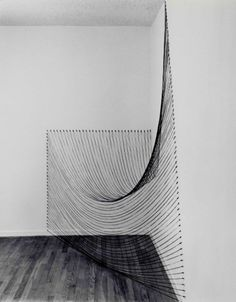 Dianne Romaine & Sabine Reckewell / Installation with Black String, 2011 / Black string, nails / Approximately 4 x 8 x 8'