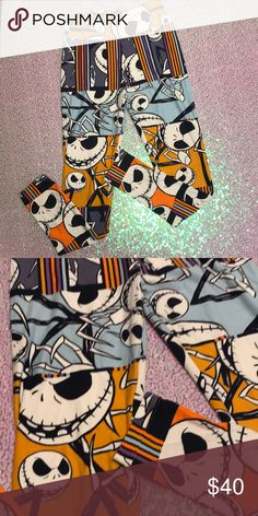 Lularoe nightmare before Christmas leggings! Worn 2 times. Nightmare before Christmas lularoe leggings! One size! LuLaRoe Pants Leggings