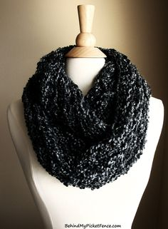 New BEACHCOMBER INFINITY SCARF in Charcoal by www.BehindMyPicketFence.com