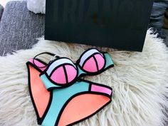 swimwear triangl bikini poppy flamingo fling style pink girly neon cute sexy classy tumblr cool girl summer beach pastel trendy blogger spring turquoise alternative beautiful