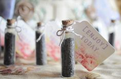 Flower seeds in a glass vial as favors!!