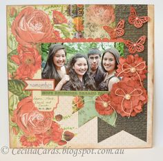 Love the colors and flowers Scrapbooking Layouts, Scrapbook Pages, Something To Remember, Photo Layouts, Curiosity, Cottage, Frame, Flowers, Cards