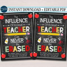 Teacher Appreciation Thank You Tags, End of School Year Printable Teacher Gift