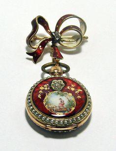 Nouveau Swiss Lapel Enamel Gold Watch L Quartier | eBay