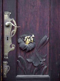 Art Nouveau Door Decoration, Prague, Czech Republic Stretched Canvas Print