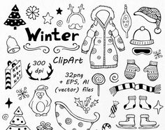 Winter Doodle Clipart, Hand getrokken Christmas clip art, clipart, PNG, EPS, AI, vector, digitale Clipart, voor persoonlijk en commercieel gebruik