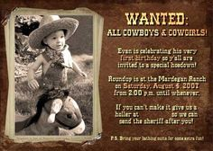 Cute invite.  Audrey is thinking about a pink cowboy party.  Better than a princess tea party considering all of the boys that will be coming!