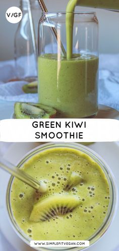 This green smoothie is full of vitamins and antioxidants. It is a perfect healthy smoothie for that will give the energy to take on the day! Green Kiwi Smoothie - This is a perfect healthy green smoothie for that will give energy to take on the day! Kiwi Smoothie, Smoothie Bowl Vegan, Smoothies Detox, Green Detox Smoothie, Healthy Green Smoothies, Apple Smoothies, Green Smoothie Recipes, Detox Drinks, Smoothies Coffee
