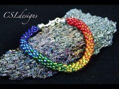 Rainbow beaded kumihimo bracelet - YouTube
