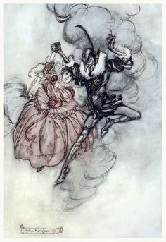 A grand pas de deux performed in the very grand style by these two. Arthur Rackham, from The Ingoldsby legends, by Thomas Ingoldsby (Richard H. Barham), London, New York, 1907. (Source: archive.org.)