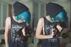 cute grunge style i want blue hair........