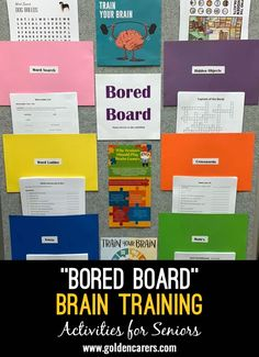 'Bored Board' Brain Training for Seniors: I have set this up for the unit that I work in and our CEO loves it so much she wants me to set one up for each of the units over different sites. Customize them to suit you. Look forward to seeing what you all do. Nursing Home Activities, Train Activities, Elderly Activities, Therapy Activities, Physical Activities, Physical Education, Activities For Dementia Patients, Senior Citizen Activities, Brain Training Games