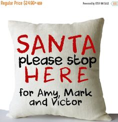 Items similar to Christmas Pillow Cover Santa Please Stop Here Cushion Xmas Decor Merry Christmas Gift Holiday Throw Pillow Case Kids Room Decor Santa Pillow on Etsy Teal Throw Pillows, Throw Pillow Cases, White And Gold Decor, Christmas Pillow Covers, Pillow Room, Christmas Gifts, Merry Christmas, Xmas Decorations, Gifts For Kids
