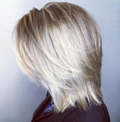 """Mid-Length Blonde Layered Hairstyle Most Universal Modern Shag Haircut Solutions"""", """"Platinum Balayage Shag For a more polished look to your short, s Medium Shaggy Hairstyles, Shaggy Haircuts, Hairstyles Haircuts, Straight Hairstyles, Cool Hairstyles, Mid Length Hairstyles, Blonde Hairstyles, Elegant Hairstyles, Braided Hairstyles"""
