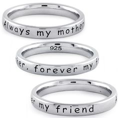 """Sterling Silver """"Always my mother, forever my friend"""" Ring"""