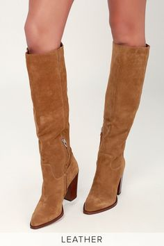 f117f94ea55 The Dolce Vita Kylar Brown Suede Leather Knee-High Boots are what dreams  are made