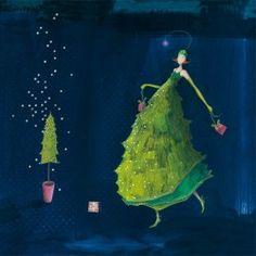 La robe sapin verte par Gaelle Boissonnard. Illustration Noel, Christmas Illustration, Painting Of Girl, Figure Painting, Atelier D Art, Whimsical Art, Surreal Art, Christmas Art, Beautiful Paintings