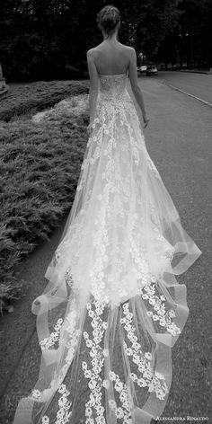 alessandra rinaudo 2016 bridal tanya strapless off white wedding dress horsehair hem back view train