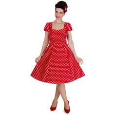 Claudia Flirty Fifties Style Dress in Red